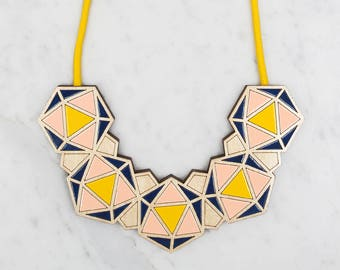 Minimalist Necklace / Geometric Bib - Yellow / Blush Pink / Navy / Statement Necklace / Contemporary Necklace