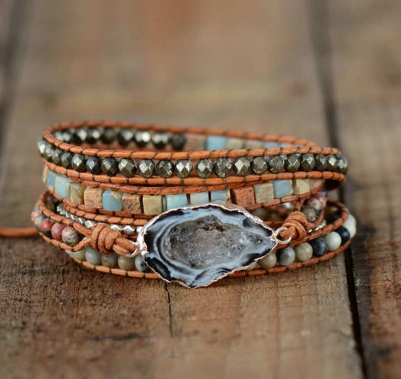 f4d6a3520c3b5 Natural Stone Ocos Agate & Jasper Beaded Gemstone Druzy Geode Wrap Bracelet  Cuff