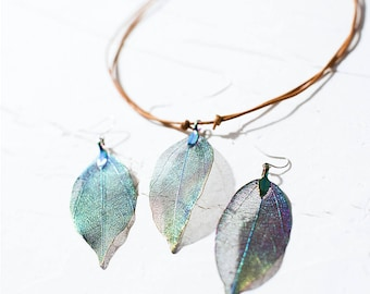 Natural Leaf Necklace & Earrings Set Leather Copper Leaves Rainbow Statement