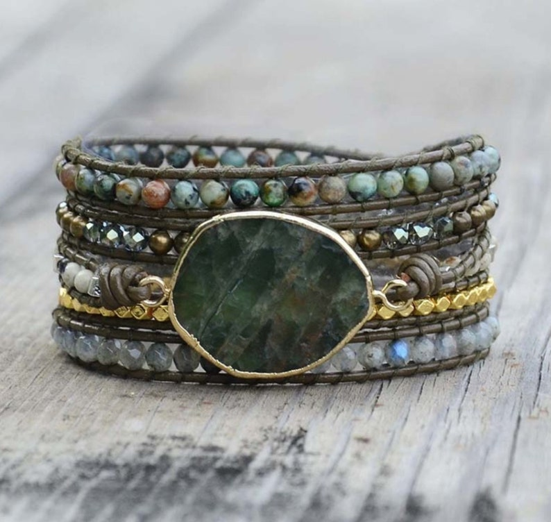 Natural Moss Agate Rough Geode Leather Beaded Wrap Cuff