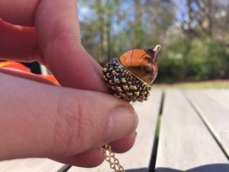 Autumn Glass Amber Acorn Pendant Necklace Antique Gold plated Long Statement