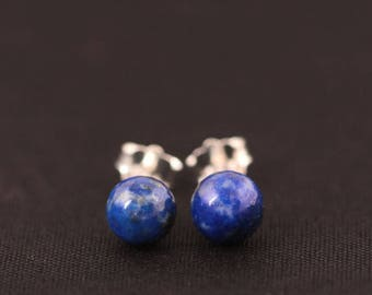 Natural Blue Lapis Lazuli Lotus Stud Earrings Sterling Silver round Small Stone
