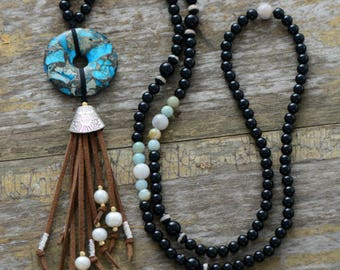 Beaded long Tassel Pearl Necklace Onyx Boho Beads Turquoise Disc Leather