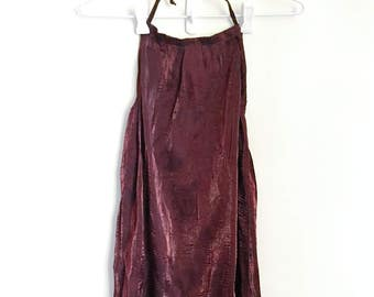 ULTRA 90s HALTERNECK > Vintage A-Line > Burgundy Red Sparkly Shiny Crinkle > Scoop Back Dress > Grunge Goth Club Rave > Womens Clothing
