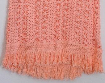 90s CROCHET CROP > Vintage Knit Vest > Boho Tank Top > Coral Pink Pastel > 60s 70s > Sleeveless Shirt > Bohemian Hippie > Womens Clothing