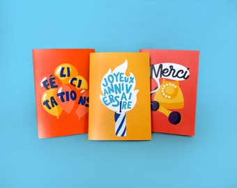 Set of three alcopops - folded card - congratulations - birthday - thank you cards