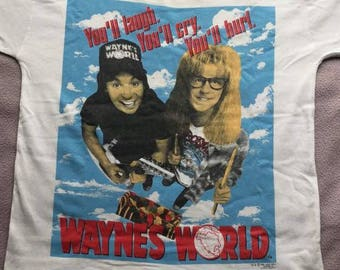 Rare Vintage Wayne's World 1992 Cult Rock Movie Tshirt / Mike Myers/ Almost Famous/Trainspotting/True Romance/Spinal Tap