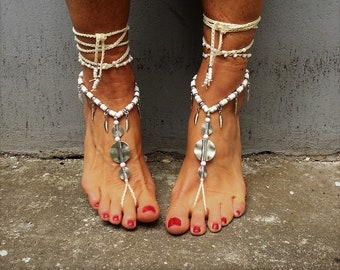 Barefoot sandals, foot jewelry, hippie sandals, anklet, boho sandals, beach sandals, festival shoes, Gypsy sandals, Yoga sandals