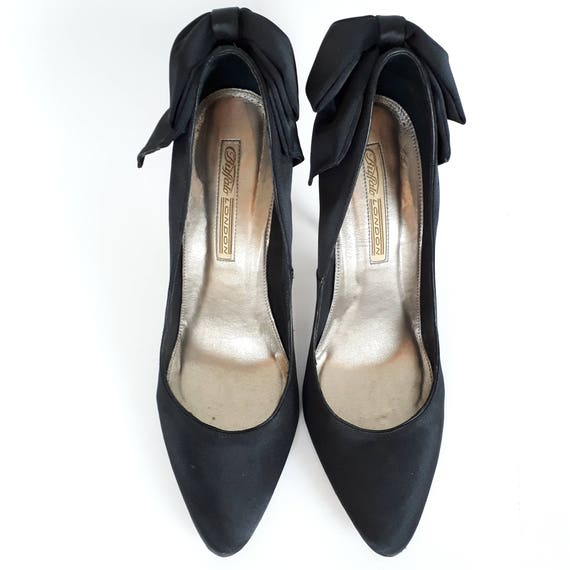 Buffalo London black satin pumps high heels with big bow on the back size 40 EU 9 US