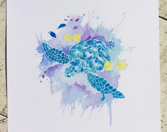 Art Print, Digital Download, Digital Print, Instant Download, Ocean, Painting, Printable Art, Print, Sea Turtle, Watercolor