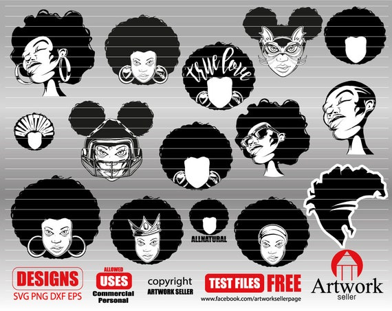 Afro Woman Svg Black Woman Svg Afro Woman Clipart Black Etsy