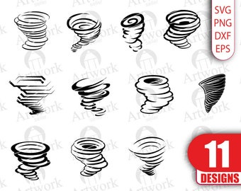 TORNADO SVG, hurricane svg, typhoon svg, storm svg, clipart, files, decal, stencil, silhouette, eps, png, dxf, vinyl, cut file, iron ons