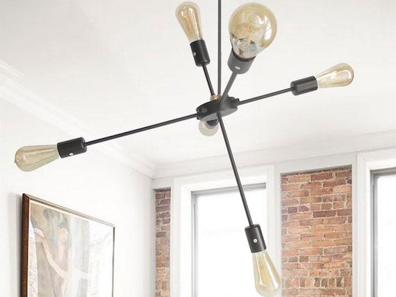 chromium-plated lamp chandelier contemporary lighting sputnik design 4 bulbs industrial iron vintage pendant rustic decor ceiling midcentury