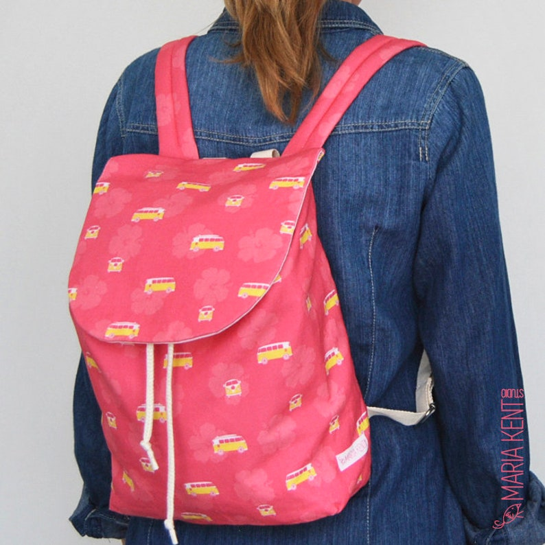 Gema Backpack With Hibiscus Flowers And Surfer Caravans In Etsy