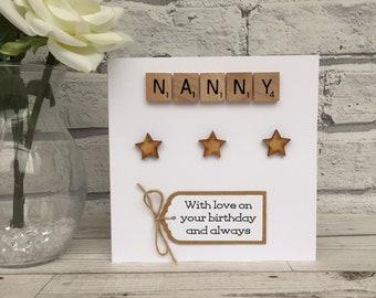 Nanny Birthday Card Scrabble For