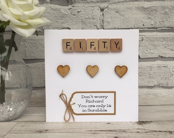 50th Birthday Card Personalised Scrabble