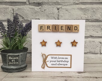 Friend Birthday Card Scrabble For