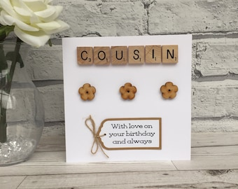 Cousin Birthday Card Scrabble For