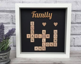 Scrabble Family Frame, Personalised Scrabble Frame, Scrabble Picture Frame, Grandchildren Frame, New Home Frame, Birthday Frame