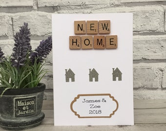 Personalised New Home Card, Scrabble Art New Home Card, New Home Housewarming Card, Scrabble Housewarming Card