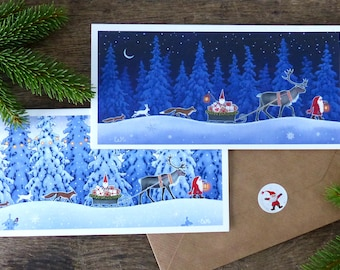 Scandinavian Christmas cards by Eva Melhuish 6/pk with two designs 'Christmas Journey'