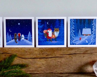 Scandinavian Christmas cards by Eva Melhuish - 5 pack with five designs