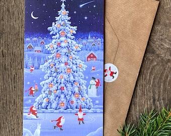 Scandinavian Christmas Card 'The Tomten's Tree' by Eva Melhuish