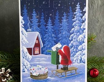 Advent Calendar Greeting Card - Scandinavian Christmas design 'Christmas Post'