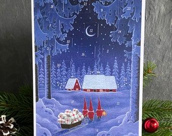 Advent Calendar Greeting Card by Eva Melhuish 'Three Tomte's Christmas Delivery'