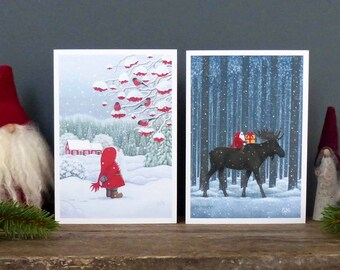 Scandinavian Christmas Cards by Eva Melhuish 6 pack with two designs