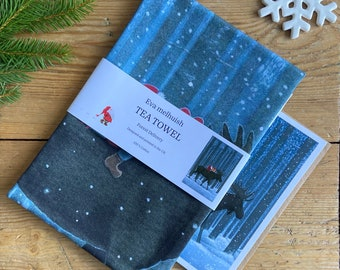 Scandinavian Christmas Tea Towel by Eva Melhuish - Includes one free card!