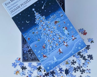 Scandinavian Christmas Jigsaw Puzzle 1000 pieces - 'The Tomten's Tree' by Eva Melhuish