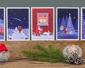 Scandinavian Christmas cards by Eva Melhuish pack of 5