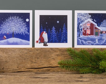 Scandinavian Christmas cards by Eva Melhuish pack of 5 with five designs