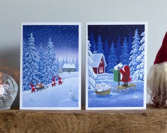 Scandinavian Christmas cards by Eva Melhuish -pack of 6 with two designs