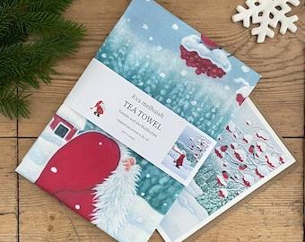 Scandinavian Christmas Tea towel by Eva Melhuish - Includes one free Christmas card!