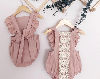 e79c35bbb4c Dusty Rose Lace Linen Baby Girl Romper Cake Smash First Birthday Baby Romper