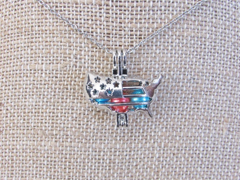 United States Map Fourth of July Inspired Cage for Freshwater or Akoya Pearls Disney World Pick a Pearl Cage Pearl Cage Necklace