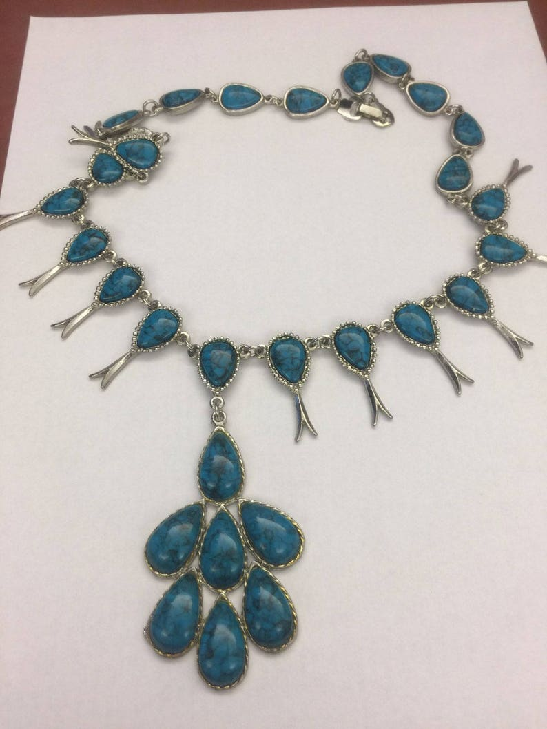 Vintage Ethnic Turquoise Chunky Medallion Pendant Necklace