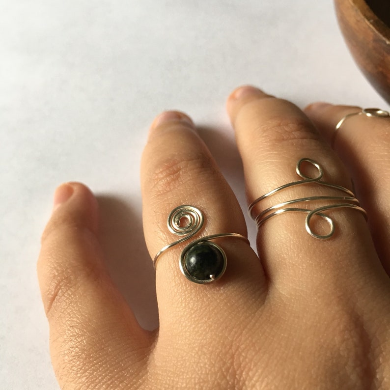 Spiral Wire Ring Wire Wrapped Adjustable Ring Stacking Rings Green Jasper Wire Wrapped Wire Rings Wire Jewelry Gemstone Rings