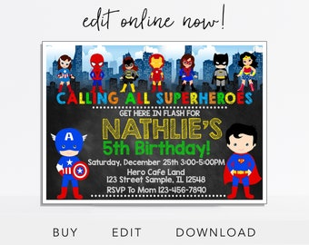 Superhero Invitation Birthday Party Super Hero