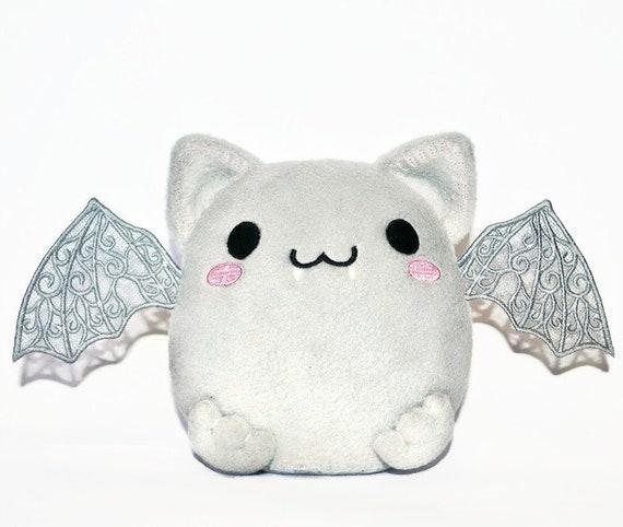 Chibi Bat Toy Grey Bat Stuffed Animal Plush Toy Bat Etsy