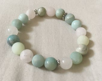 Self Love Reiki Infused Custom Crystal Bracelet | Rose Quartz Jade Serpentine Amazonite