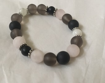 Intention Crystal Combination Bracelet   Grey and Pink Handmade
