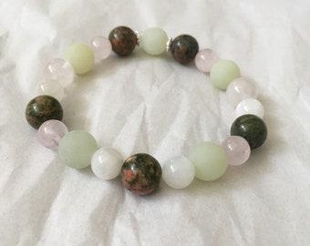 Fertility Pregnancy Crystal Elasticated Bracelet Reiki Infused Pink and Green Unakite Jade Moonstone Rose Quartz