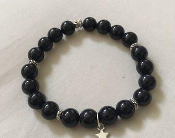 Starlight and Moonlight Bracelet | Reiki Infused Blue Goldstone With Star Charm | Sparkly Custom Crystal Bracelet