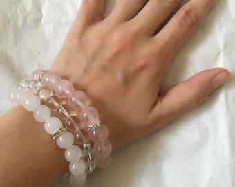 Bridal Bridesmaid Bracelet Stack | Agate Clear Quartz and Rose Quartz | Angel Goddess Custom Personalised Essential Oil Diffuser Sparkly