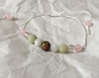 Fertility Pregnancy Crystal Bracelet Reiki Infused Pink and Green Unakite Jade Moonstone Rose Quartz