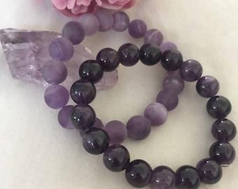 Handmade Amethyst reiki infused Bracelet | Angel Goddess Essential Oils Diffuser Bracelet | Third Eye Crown Chakra | Calming Creativity