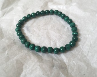 Malachite Grade A Crystal Bracelet   Personalised Gemstone Semi Precious Stone   Healing Green Charm   Heart Chakra Pain Relief Reiki